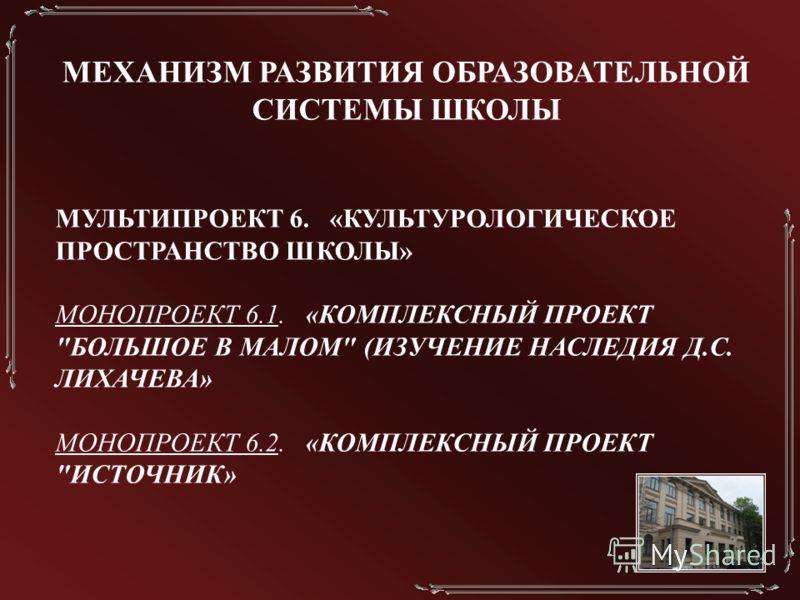 МЕХАНИЗМ РАЗВИТИЯ ОБРАЗОВАТЕЛЬНОЙ СИСТЕМЫ ШКОЛЫ МУЛЬТИПРОЕКТ 6. «КУЛЬТУРОЛОГИЧЕСКОЕ ПРОСТРАНСТВО ШКОЛЫ» МОНОПРОЕКТ 6.1. «КОМПЛЕКСНЫЙ ПРОЕКТ БОЛЬШОЕ В МАЛОМ (ИЗУЧЕНИЕ НАСЛЕДИЯ Д.С. ЛИХАЧЕВА» МОНОПРОЕКТ 6.2. «КОМПЛЕКСНЫЙ ПРОЕКТ ИСТОЧНИК»
