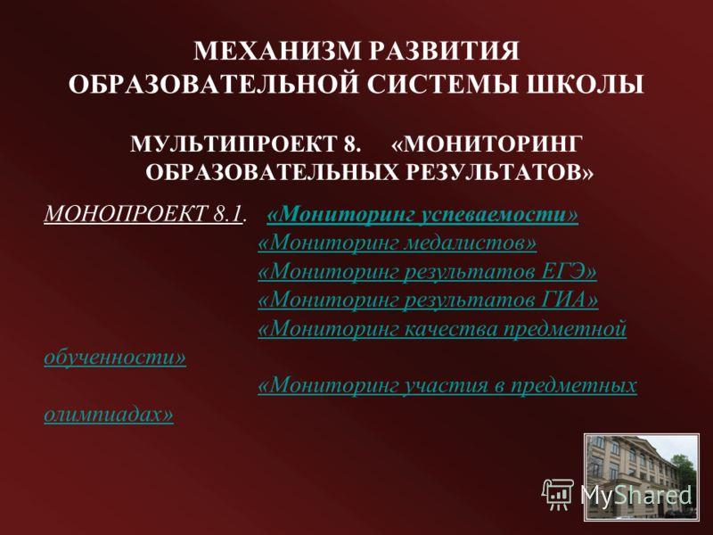 МЕХАНИЗМ РАЗВИТИЯ ОБРАЗОВАТЕЛЬНОЙ СИСТЕМЫ ШКОЛЫ МУЛЬТИПРОЕКТ 8. «МОНИТОРИНГ ОБРАЗОВАТЕЛЬНЫХ РЕЗУЛЬТАТОВ» МОНОПРОЕКТ 8.1. «Мониторинг успеваемости»«Мониторинг успеваемости» «Мониторинг медалистов» «Мониторинг результатов ЕГЭ» «Мониторинг результатов Г