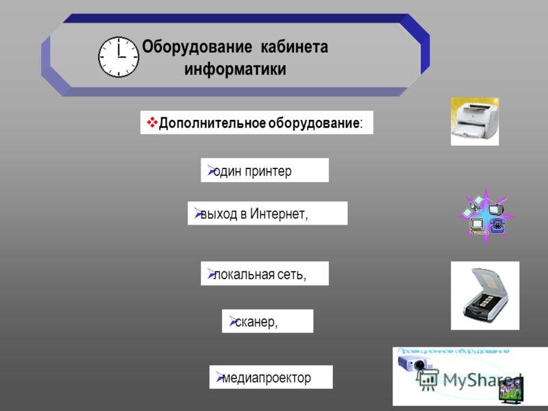 медиапроектор Оборудование кабинета информатики выход в Интернет, локальная сеть, сканер, один принтер Дополнительное оборудование :