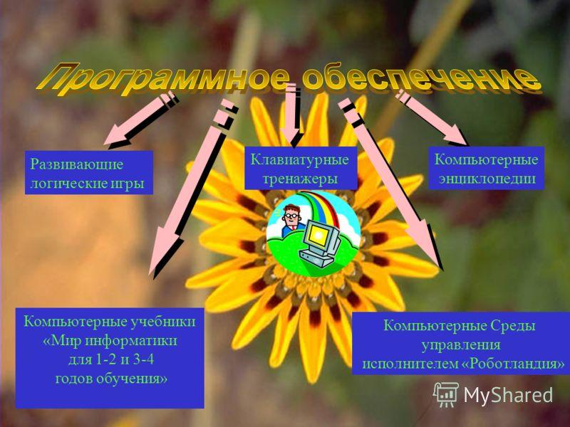Развивающие логические игры Клавиатурные тренажеры Компьютерные энциклопедии Компьютерные учебники «Мир информатики для 1-2 и 3-4 годов обучения» Компьютерные Среды управления исполнителем «Роботландия»