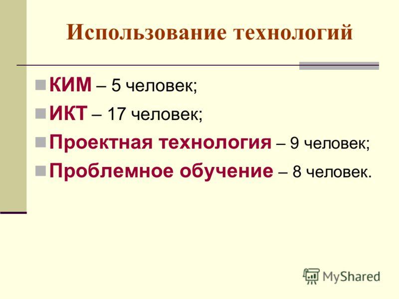 Использование технологий КИМ – 5 человек; ИКТ – 17 человек; Проектная технология – 9 человек; Проблемное обучение – 8 человек.