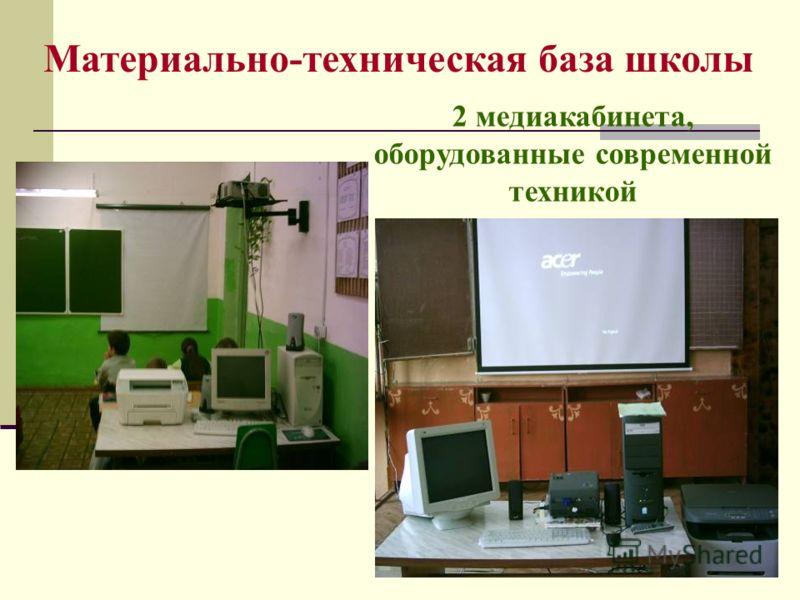 Материально-техническая база школы 2 медиакабинета, оборудованные современной техникой Мастерская по кулинарному делу Мастерская по швейному делу
