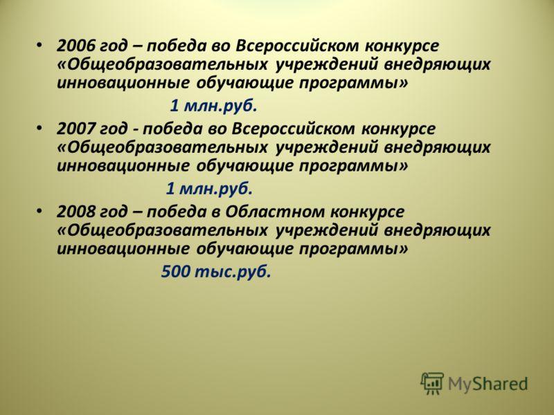 2006 год – победа во Всероссийском конкурсе «Общеобразовательных учреждений внедряющих инновационные обучающие программы» 1 млн.руб. 2007 год - победа во Всероссийском конкурсе «Общеобразовательных учреждений внедряющих инновационные обучающие програ