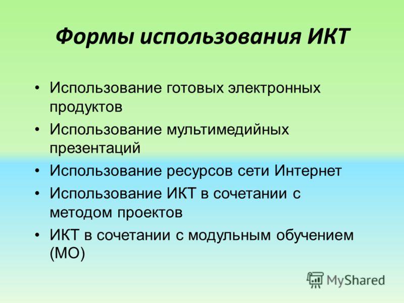 Формы использования ИКТ Использование готовых электронных продуктов Использование мультимедийных презентаций Использование ресурсов сети Интернет Использование ИКТ в сочетании с методом проектов ИКТ в сочетании с модульным обучением (МО)