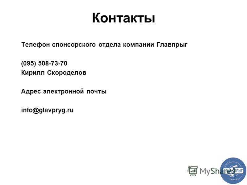 Контакты Телефон спонсорского отдела компании Главпрыг (095) 508-73-70 Кирилл Скороделов Адрес электронной почты info@glavpryg.ru