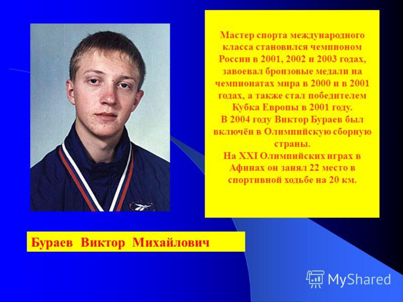 Бураев Виктор Михайлович Мастер спорта международного класса становился чемпионом России в 2001, 2002 и 2003 годах, завоевал бронзовые медали на чемпионатах мира в 2000 и в 2001 годах, а также стал победителем Кубка Европы в 2001 году. В 2004 году Ви