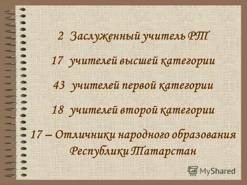 2 Заслуженный учитель РТ 17 учителей высшей категории 43 учителей первой категории 18 учителей второй категории 17 – Отличники народного образования Республики Татарстан