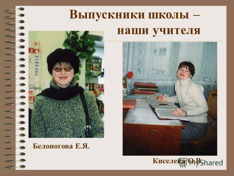 Белоногова Е.Я. Киселева О.В. Выпускники школы – наши учителя