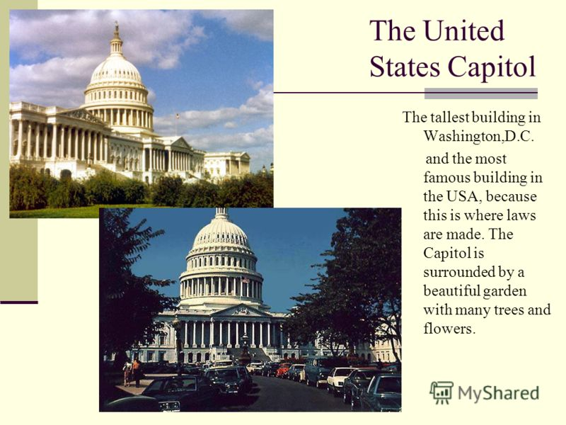 The United States Capitol The tallest building in Washington,D.C. and the most famous building in the USA, because this is where laws are made. The Capitol is surrounded by a beautiful garden with many trees and flowers.
