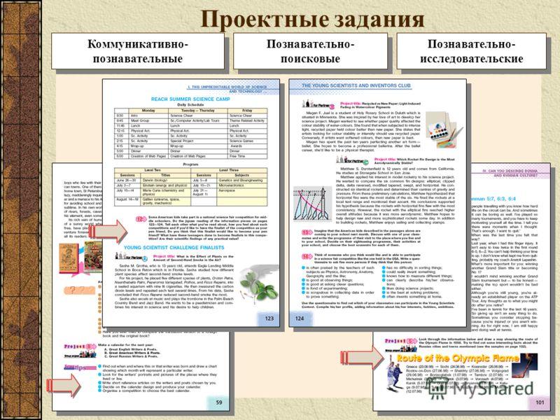 Проектные задания Познавательно- поисковые Познавательно- исследовательские Коммуникативно- познавательные