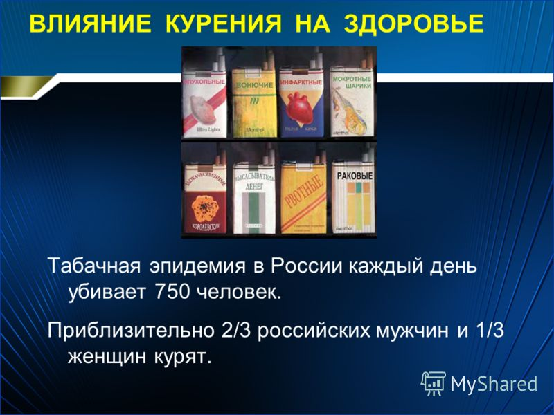 Влияние курения на здоровье табачная