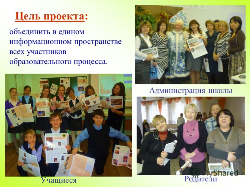 Цель проекта: объединить в едином информационном пространстве всех участников образовательного процесса. Родители Учащиеся Администрация школы