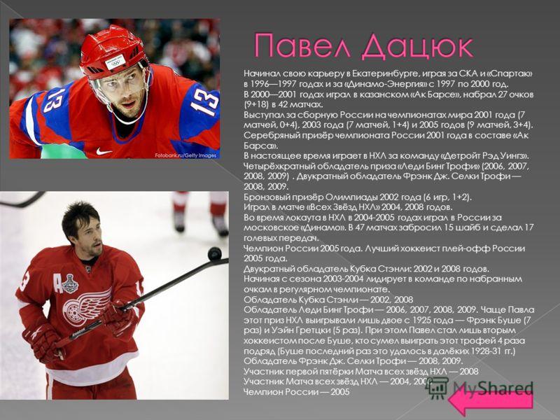 Начинал свою карьеру в Екатеринбурге, играя за СКА и «Спартак» в 19961997 годах и за «Динамо-Энергия» с 1997 по 2000 год. В 20002001 годах играл в казанском «Ак Барсе», набрал 27 очков (9+18) в 42 матчах. Выступал за сборную России на чемпионатах мир