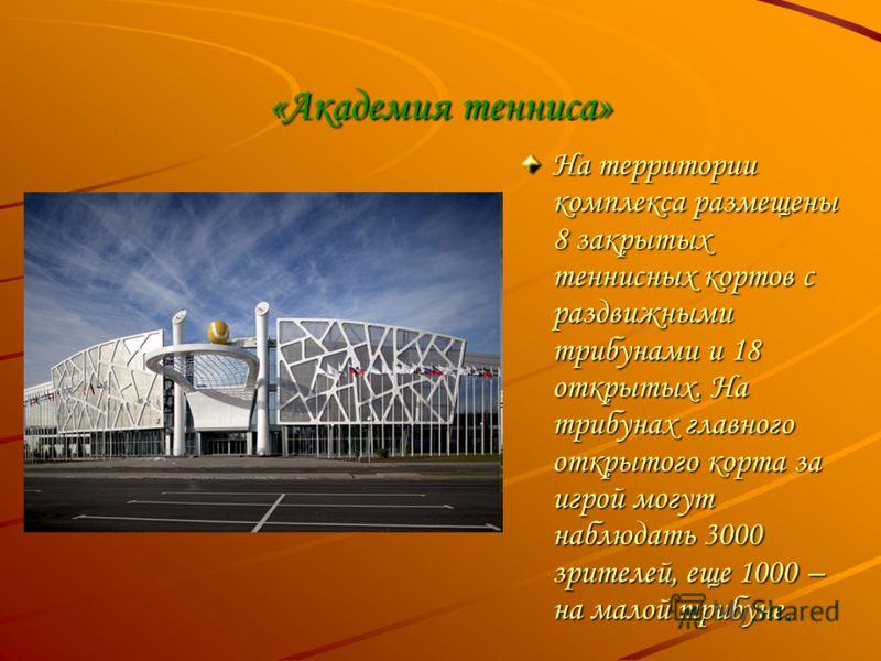 «Академия тенниса» На территории комплекса размещены 8 закрытых теннисных кортов с раздвижными трибунами и 18 открытых. На трибунах главного открытого корта за игрой могут наблюдать 3000 зрителей, еще 1000 – на малой трибуне.