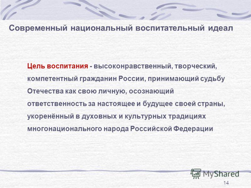 14 Современный национальный воспитательный идеал Цель воспитания - высоконравственный, творческий, компетентный гражданин России, принимающий судьбу Отечества как свою личную, осознающий ответственность за настоящее и будущее своей страны, укоренённы