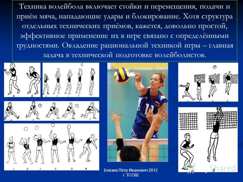 Техника волейбола включает стойки и перемещения, подачи и приём мяча, нападающие удары и блокирование. Хотя структура отдельных технических приёмов, кажется, довольно простой, эффективное применение их в игре связано с определёнными трудностями. Овла