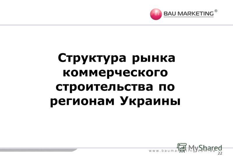 Структура рынка коммерческого строительства по регионам Украины 22