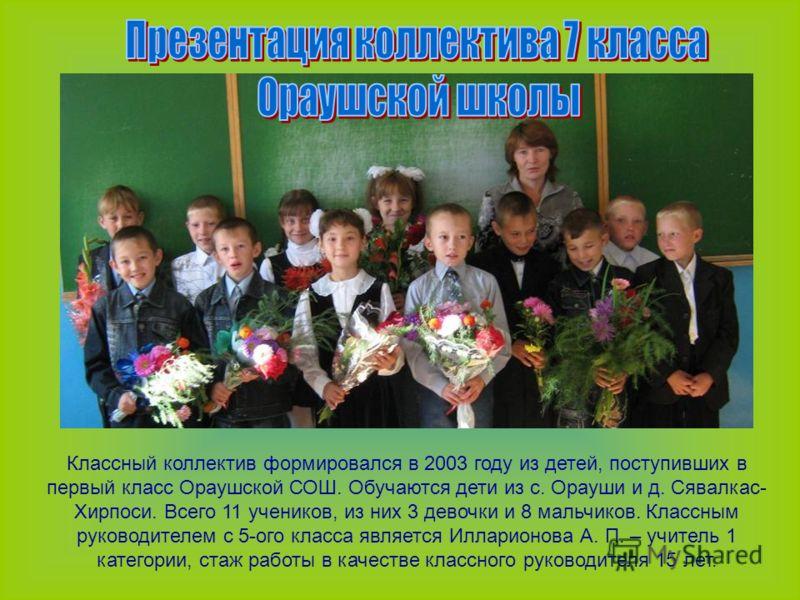 Классный коллектив формировался в 2003 году из детей, поступивших в первый класс Ораушской СОШ. Обучаются дети из с. Орауши и д. Сявалкас- Хирпоси. Всего 11 учеников, из них 3 девочки и 8 мальчиков. Классным руководителем с 5-ого класса является Илла