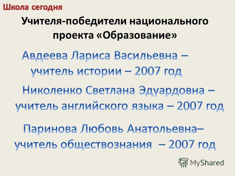 Учителя-победители национального проекта «Образование»