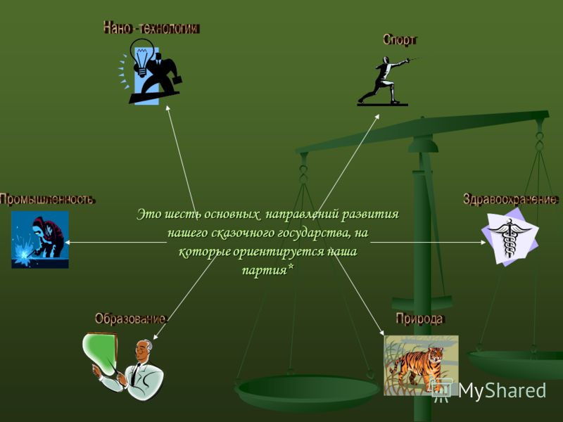 Это шесть основных направлений развития нашего сказочного государства, на которые ориентируется наша партия*