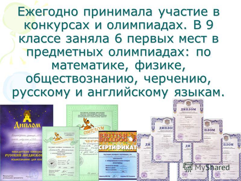 Ежегодно принимала участие в конкурсах и олимпиадах. В 9 классе заняла 6 первых мест в предметных олимпиадах: по математике, физике, обществознанию, черчению, русскому и английскому языкам.