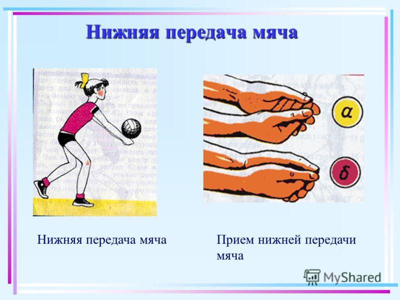 Нижняя передача мяча Прием нижней передачи мяча