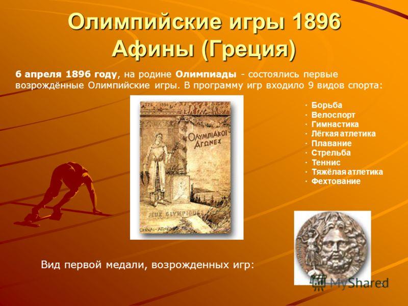 9 Олимпийские игры 1896 Афины (Греция) · Борьба · Велоспорт · Гимнастика · Лёгкая атлетика · Плавание · Стрельба · Теннис · Тяжёлая атлетика · Фехтование 6 апреля 1896 году, на родине Олимпиады - состоялись первые возрождённые Олимпийские игры. В про
