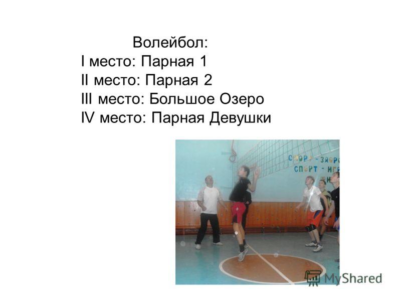Волейбол: I место: Парная 1 II место: Парная 2 III место: Большое Озеро IV место: Парная Девушки