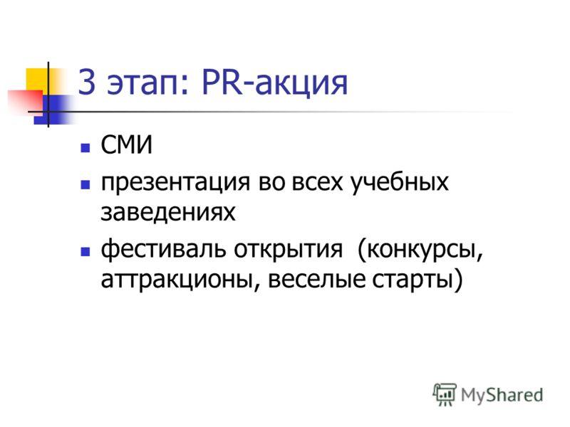 3 этап: PR-акция СМИ презентация во всех учебных заведениях фестиваль открытия (конкурсы, аттракционы, веселые старты)