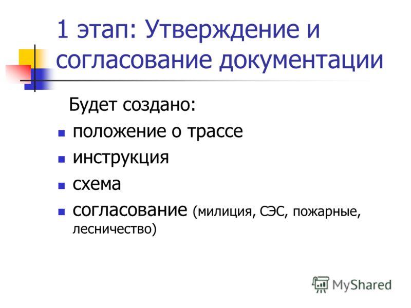 1 этап: Утверждение и согласование документации Будет создано: положение о трассе инструкция схема согласование (милиция, СЭС, пожарные, лесничество)
