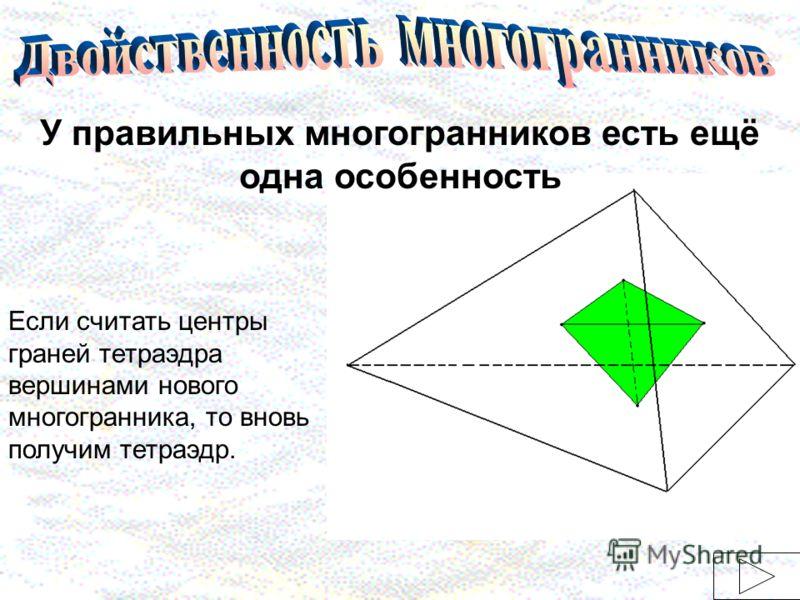 У правильных многогранников есть ещё одна особенность Если считать центры граней тетраэдра вершинами нового многогранника, то вновь получим тетраэдр.