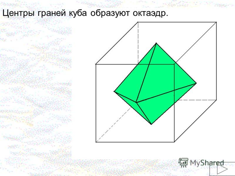 Центры граней куба образуют октаэдр.