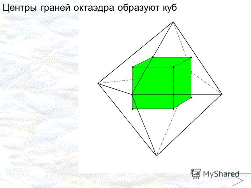 Центры граней октаэдра образуют куб