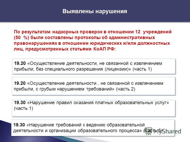 Выявлены нарушения По результатам надзорных проверок в отношении 12 учреждений (50 %) были составлены протоколы об административных правонарушениях в отношении юридических и/или должностных лиц, предусмотренных статьями КоАП РФ: 19.20 «Осуществление
