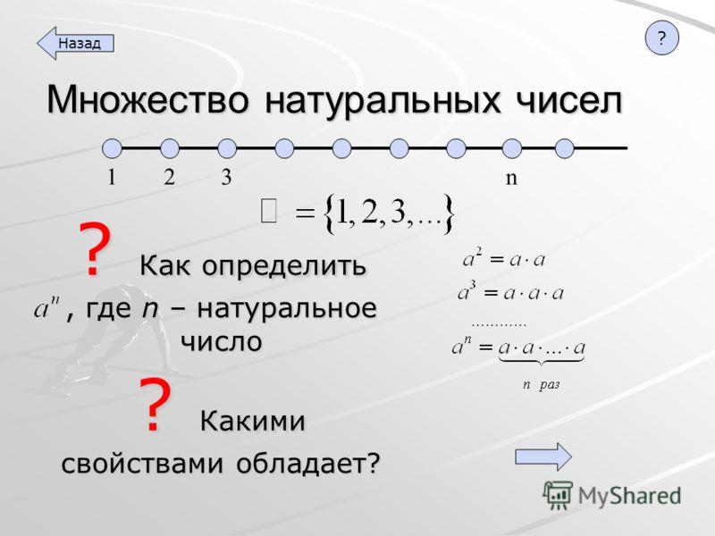 ? Как определить, где n – натуральное число Множество натуральных чисел ? Какими свойствами обладает? 1 2 3 n ………… Назад ?