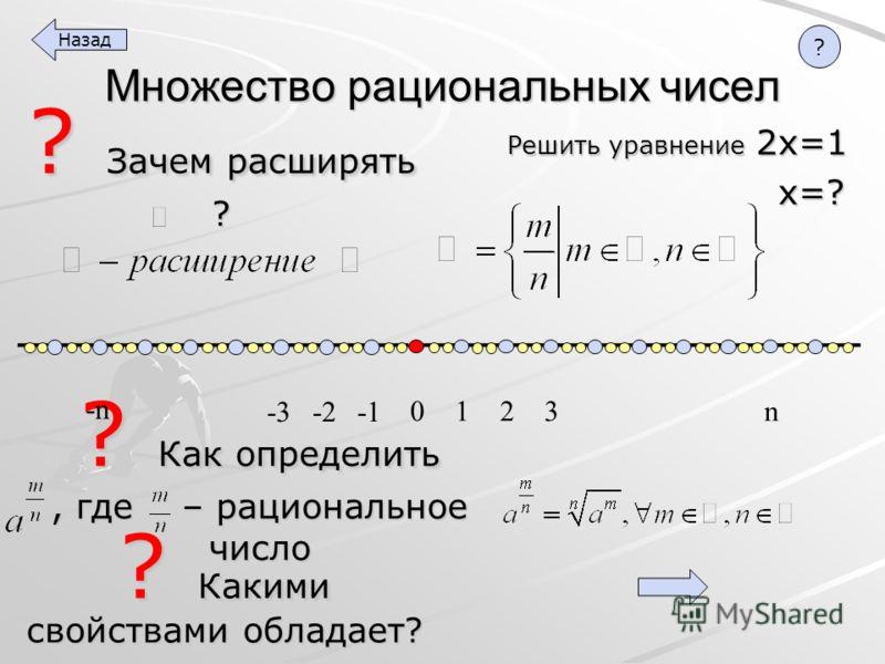? Как определить, где – рациональное число ? Зачем расширять ? Множество рациональных чисел ? Какими свойствами обладает? Решить уравнение 2х=1 х=? х=? 1 2 3 n 0 -2 -3 -n Назад ?