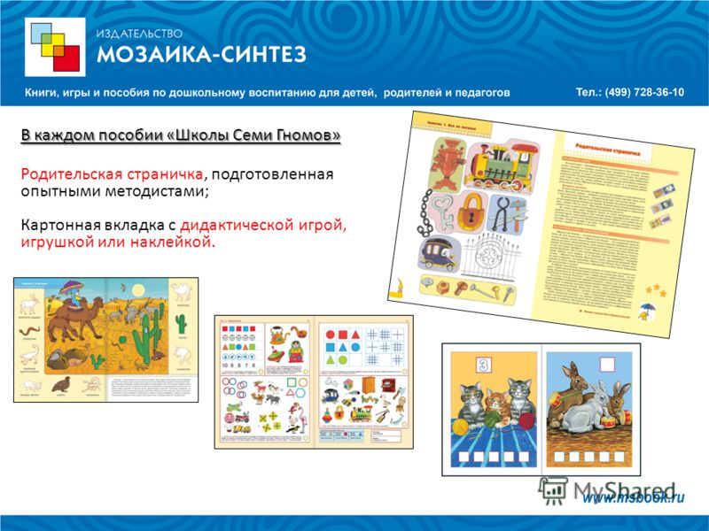 В каждом пособии «Школы Семи Гномов» Родительская страничка, подготовленная опытными методистами; Картонная вкладка с дидактической игрой, игрушкой или наклейкой.