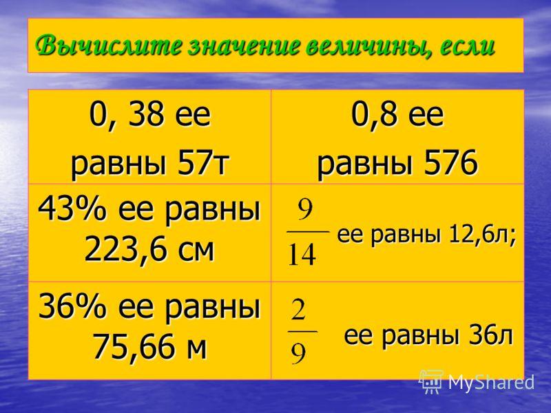 Вычислите значение величины, если 0, 38 ее равны 57т 0,8 ее равны 576 43% ее равны 223,6 см ее равны 12,6л; ее равны 12,6л; 36% ее равны 75,66 м ее равны 36л ее равны 36л