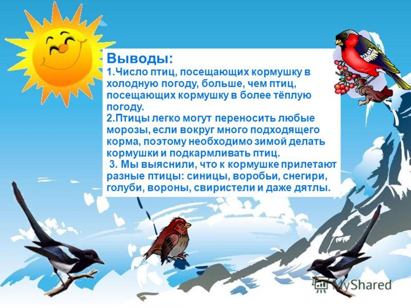 Выводы: 1.Число птиц, посещающих кормушку в холодную погоду, больше, чем птиц, посещающих кормушку в более тёплую погоду. 2.Птицы легко могут переносить любые морозы, если вокруг много подходящего корма, поэтому необходимо зимой делать кормушки и под