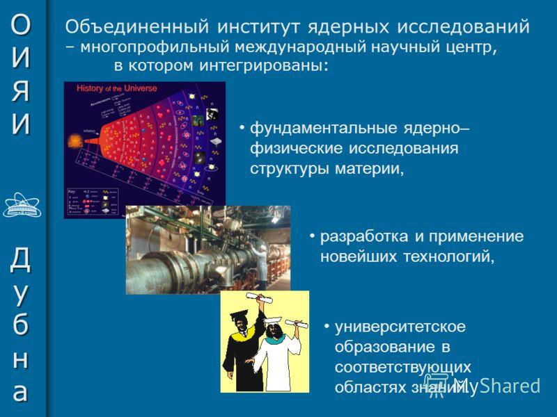 ОИЯИДубнаОИЯИДубна ОИЯИДубнаОИЯИДубна Объединенный институт ядерных исследований – многопрофильный международный научный центр, в котором интегрированы: фундаментальные ядерно– физические исследования структуры материи, разработка и применение новейш
