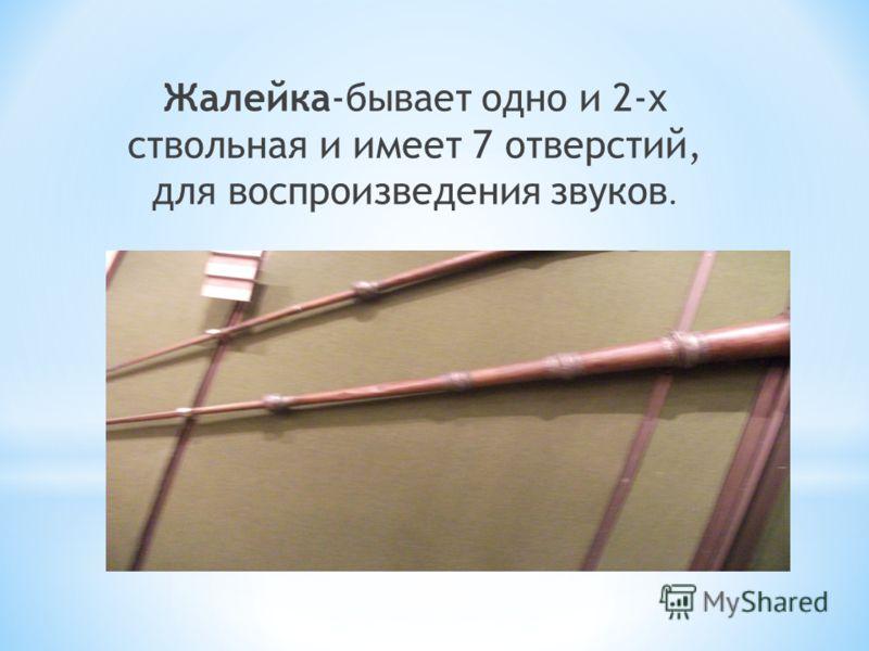 Жалейка-бывает одно и 2-х ствольная и имеет 7 отверстий, для воспроизведения звуков.