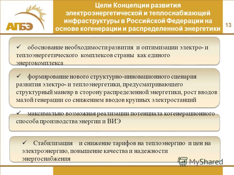 Стабилизация и снижение тарифов на теплоэнергию и цен на электроэнергию, повышение качества и надежности энергоснабжения 13 Цели Концепции развития электроэнергетической и теплоснабжающей инфраструктуры в Российской Федерации на основе когенерации и