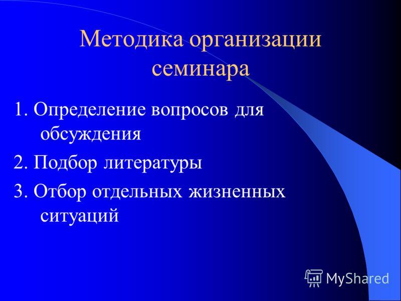 Методика организации семинара 1. Определение вопросов для обсуждения 2. Подбор литературы 3. Отбор отдельных жизненных ситуаций
