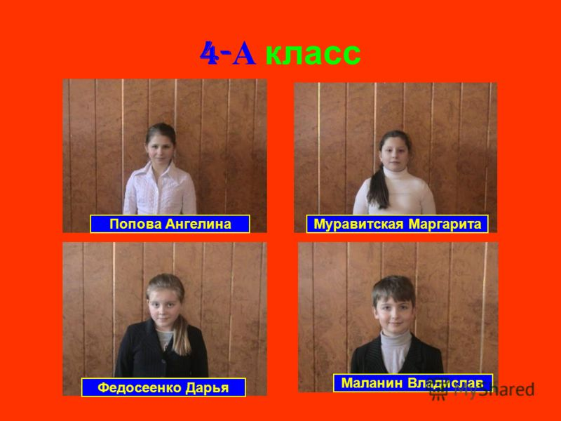 4- А класс Попова АнгелинаМуравитская Маргарита Федосеенко Дарья Маланин Владислав