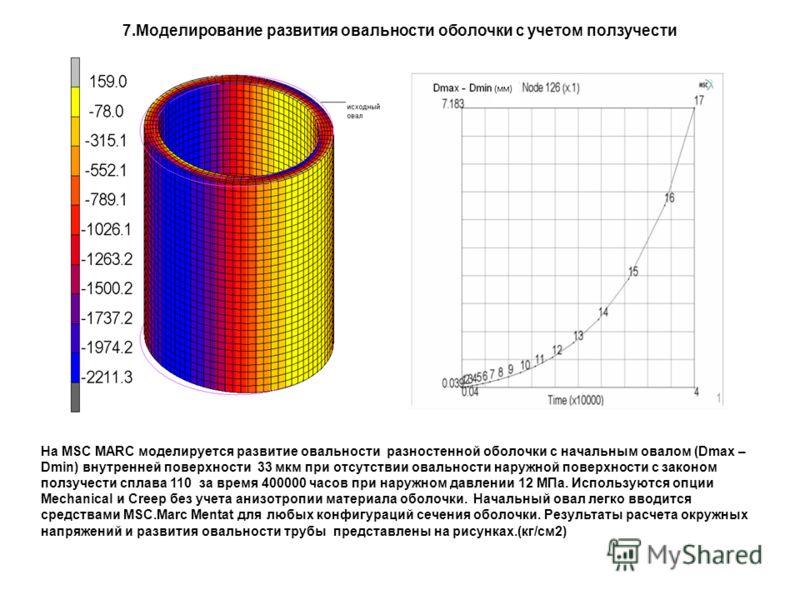 7.Моделирование развития овальности оболочки с учетом ползучести На MSC MARC моделируется развитие овальности разностенной оболочки с начальным овалом (Dmax – Dmin) внутренней поверхности 33 мкм при отсутствии овальности наружной поверхности с законо