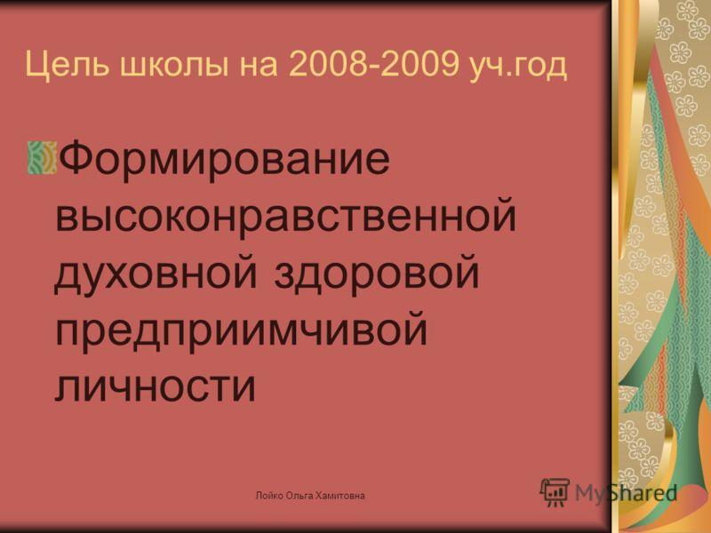 Цель школы на 2008-2009 уч.год Формирование высоконравственной духовной здоровой предприимчивой личности Лойко Ольга Хамитовна