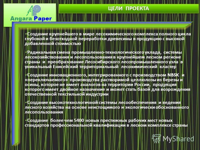 Angara Paper ЦЕЛИ ПРОЕКТА Создание крупнейшего в мире лесохимического комплекса полного цикла глубокой и безотходной переработки древесины в продукцию с высокой добавленной стоимостью Создание крупнейшего в мире лесохимического комплекса полного цикл