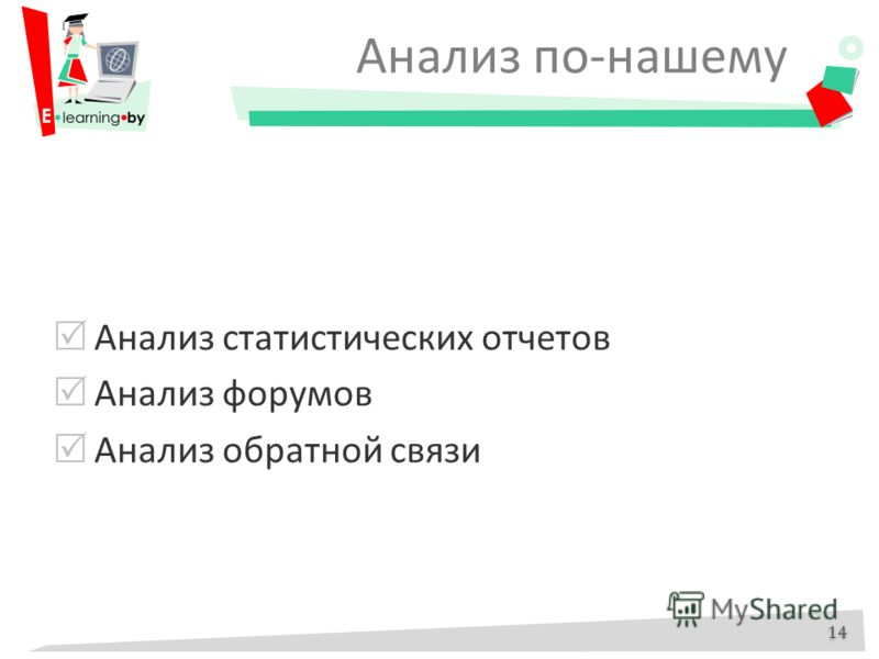 Анализ по-нашему Анализ статистических отчетов Анализ форумов Анализ обратной связи 14
