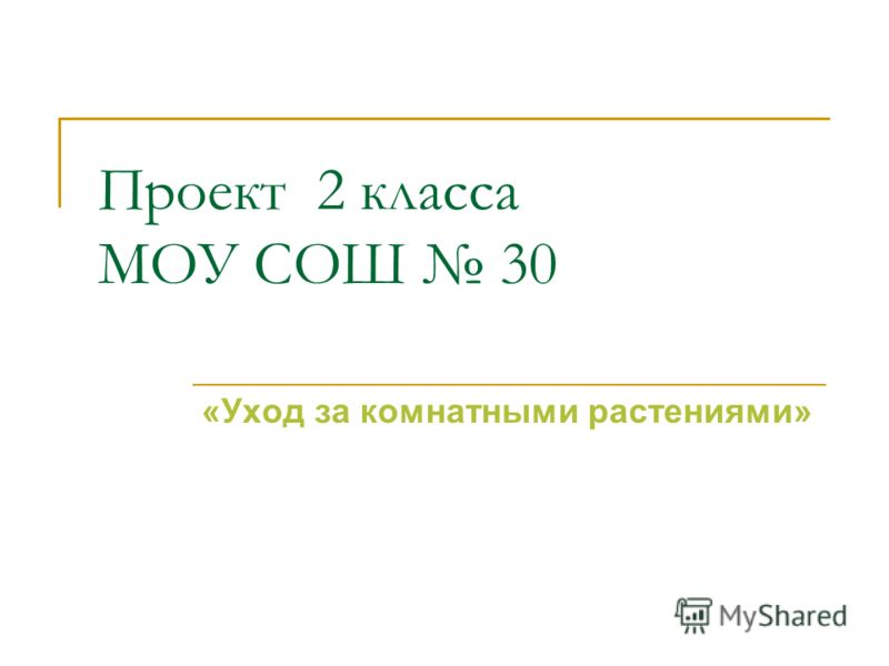 Проект 2 класса МОУ СОШ 30 «Уход за комнатными растениями»