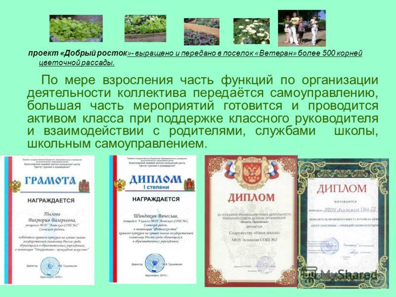 проект «Добрый росток»- выращено и передано в поселок «Ветеран» более 500 корней цветочной рассады. По мере взросления часть функций по организации деятельности коллектива передаётся самоуправлению, большая часть мероприятий готовится и проводится ак